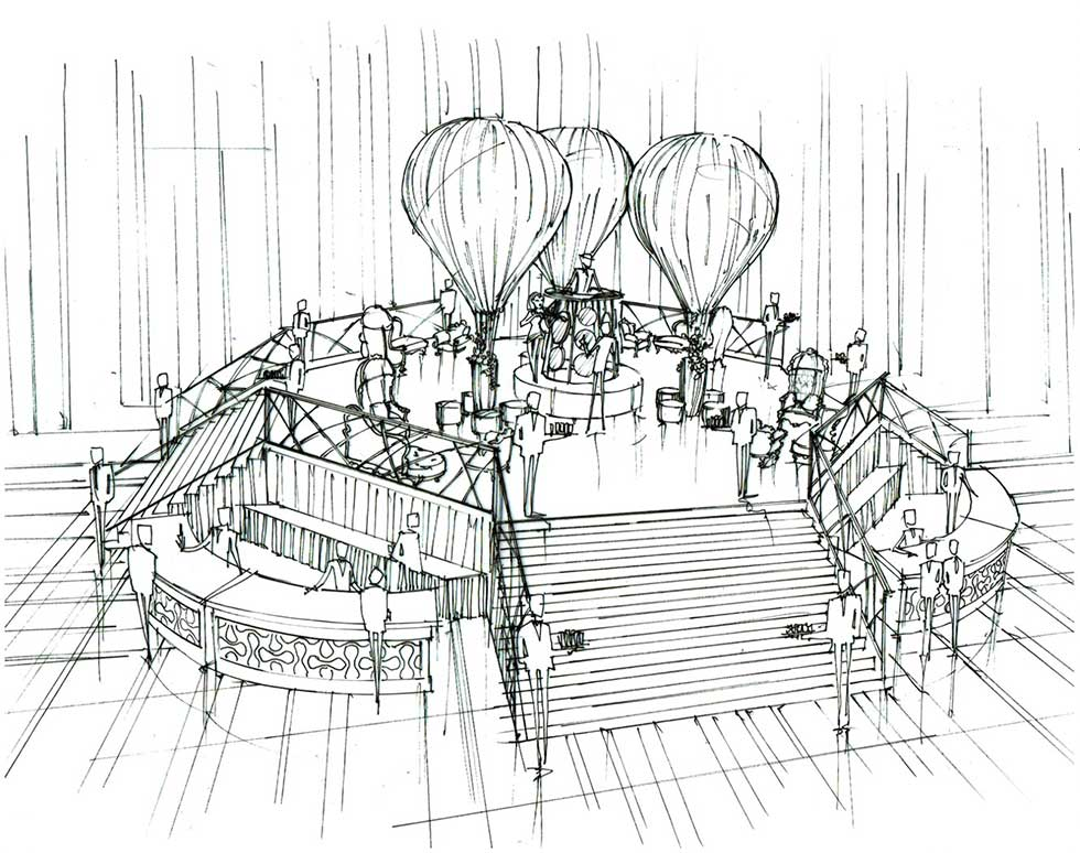 Artist's sketch of main stage and bar area