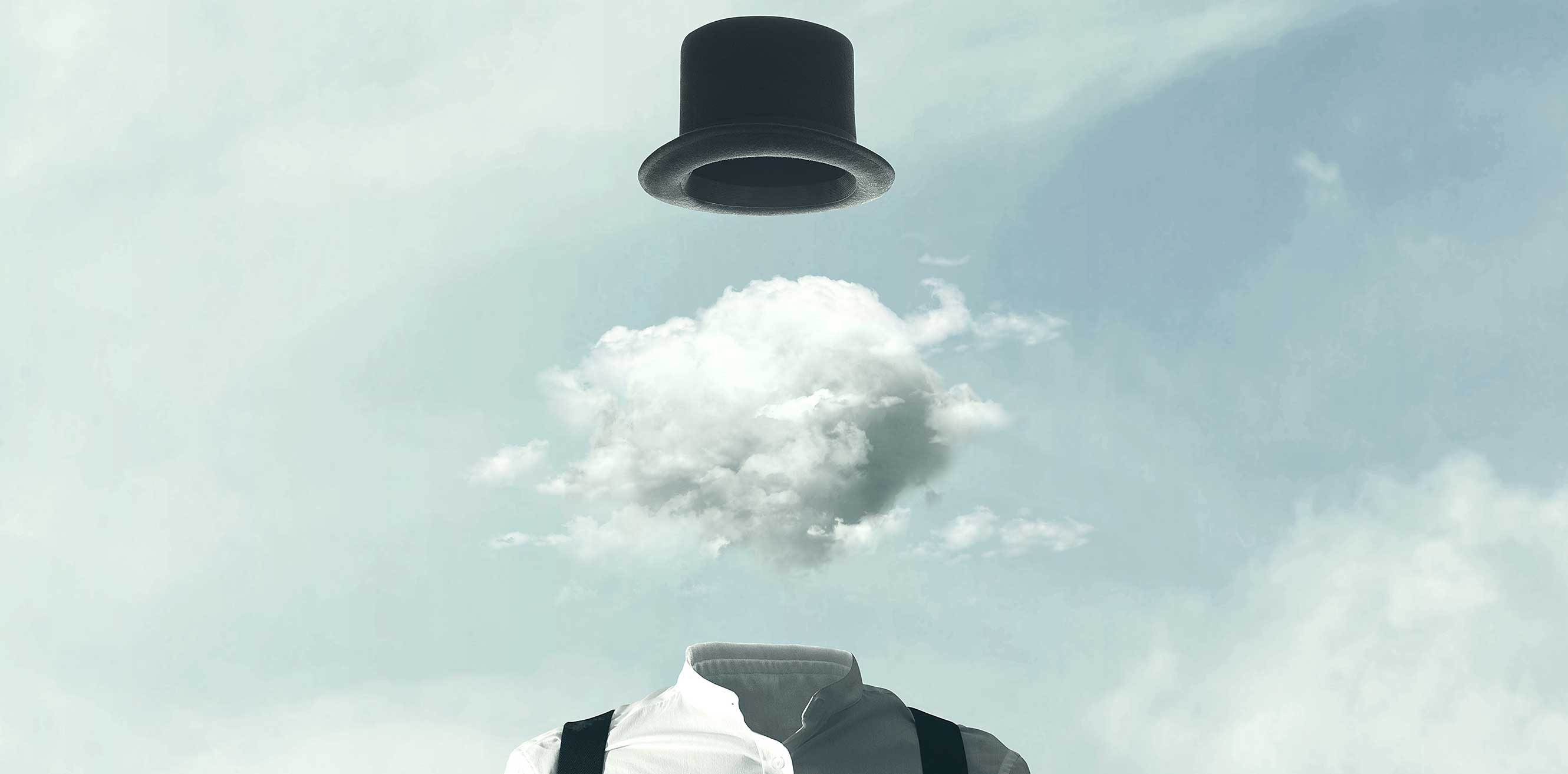 Surreal man with his head in the clouds