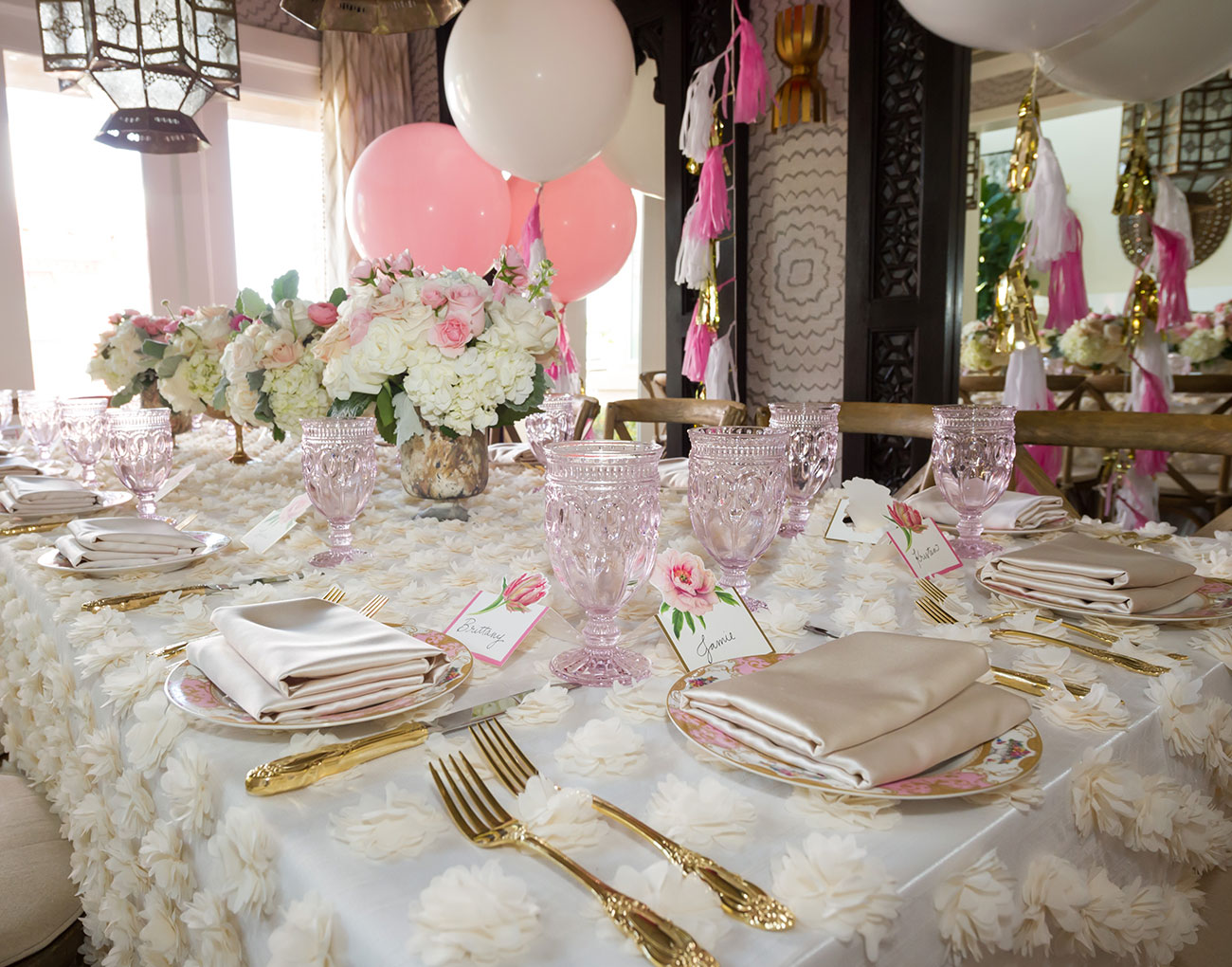 Event decorations around a table