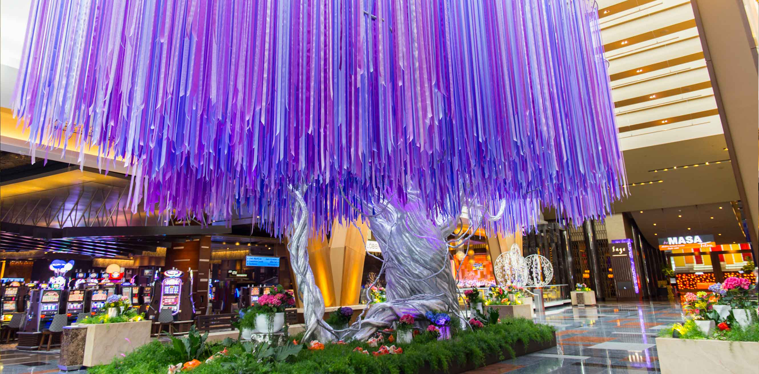 Tree installation with purple