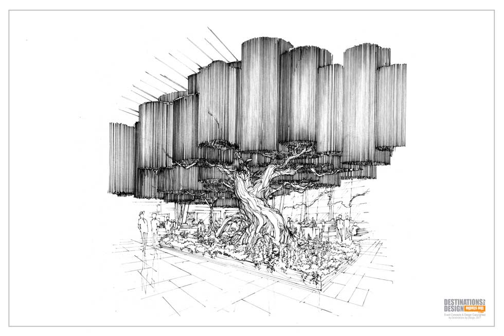 Artist's rendering of the fabricated tree