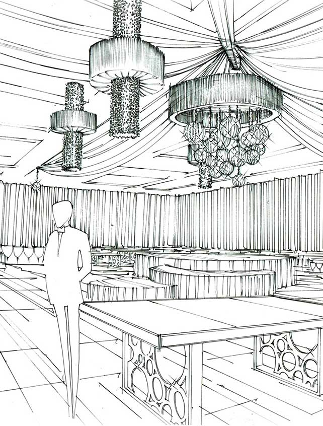 Artist's sketch of chandeliers