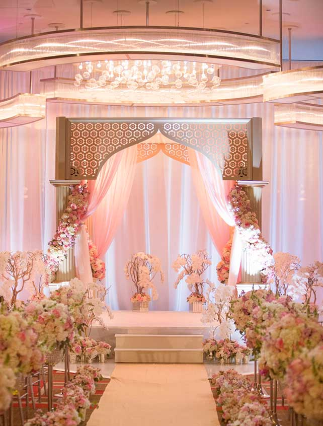 Pink and silver wedding altar