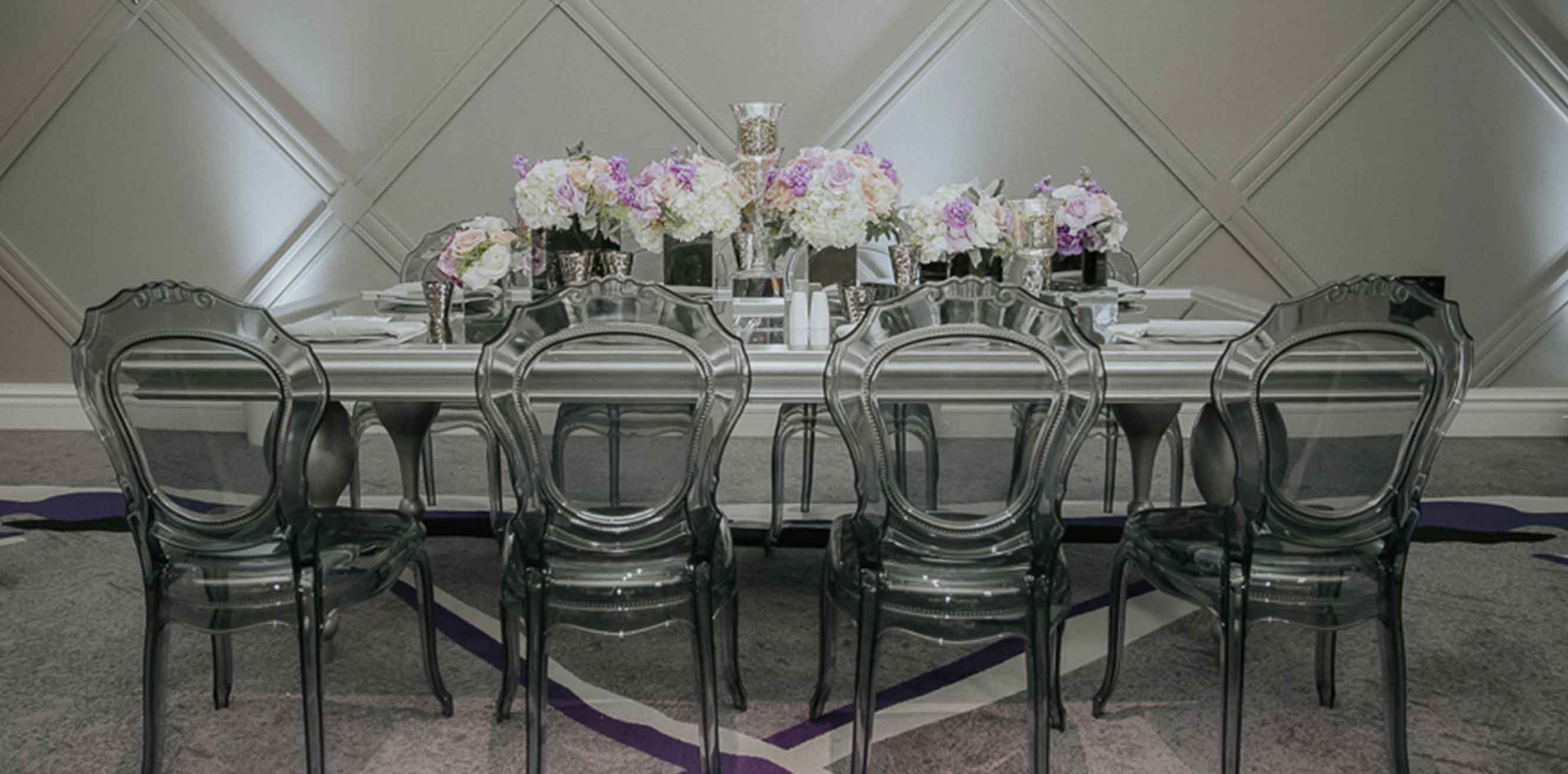 Clear, smoky chairs