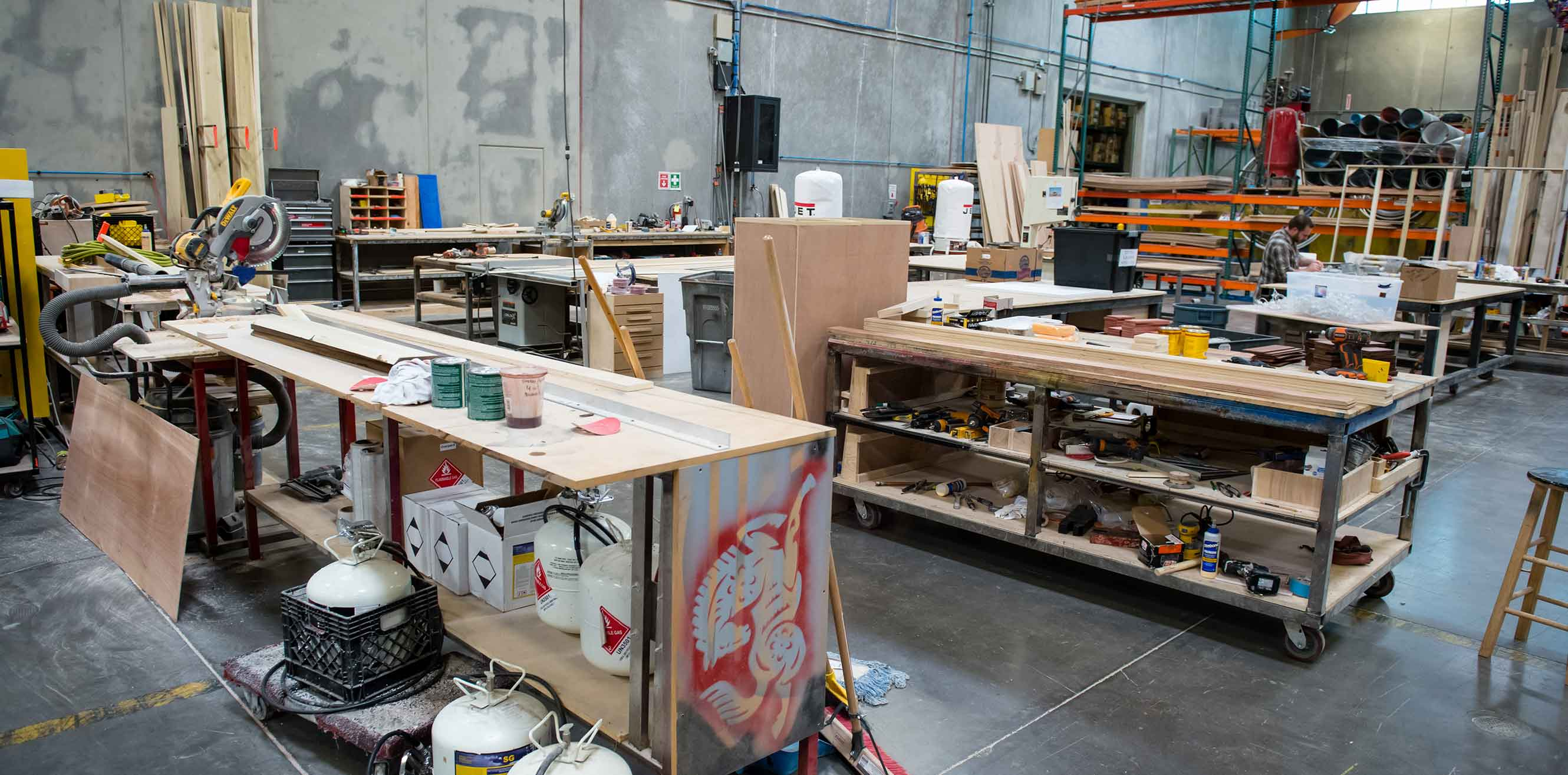 Tables and supplies in the warehouse studio