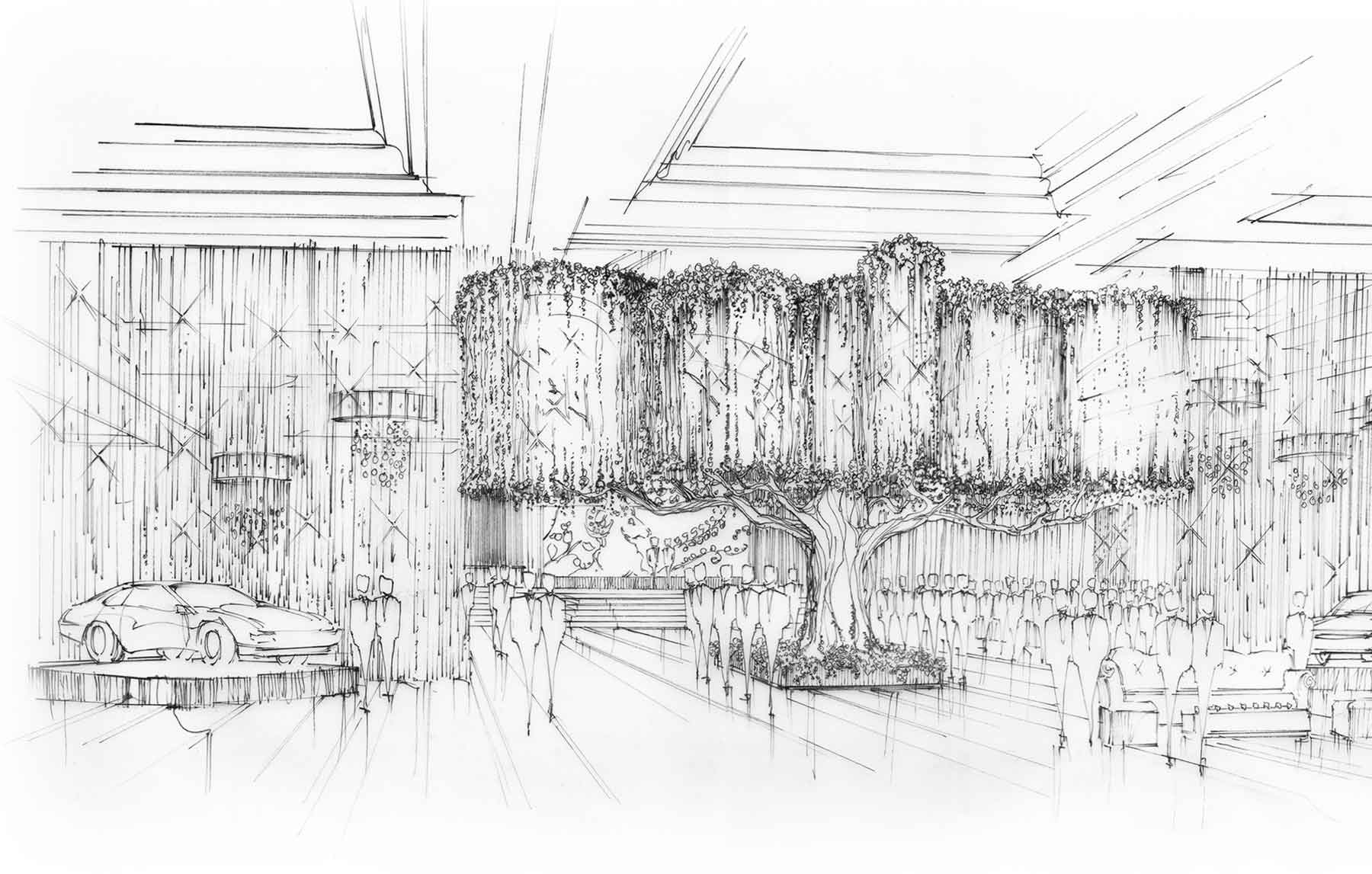 Artist's rendering of tree installation