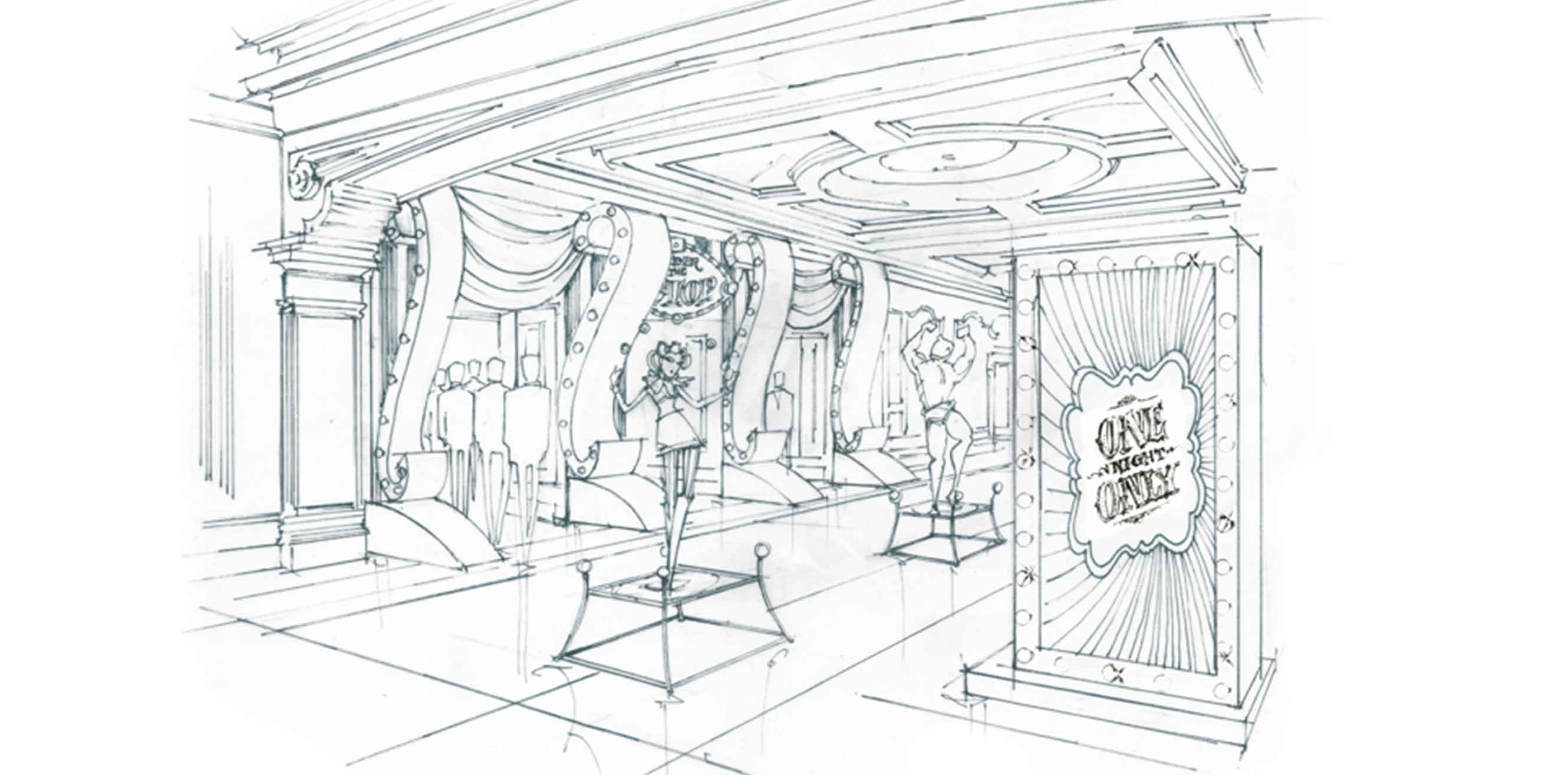 Artist's rendering of the big top themed venue entrance