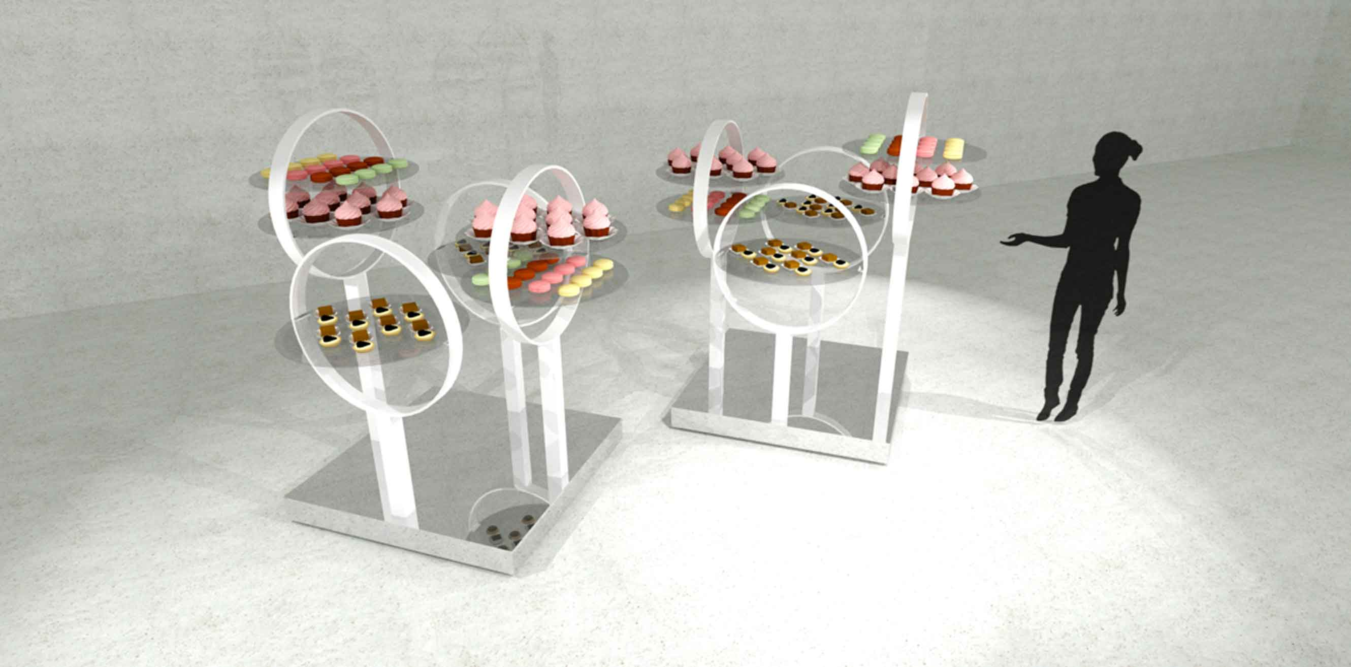 3D rendering of food tables