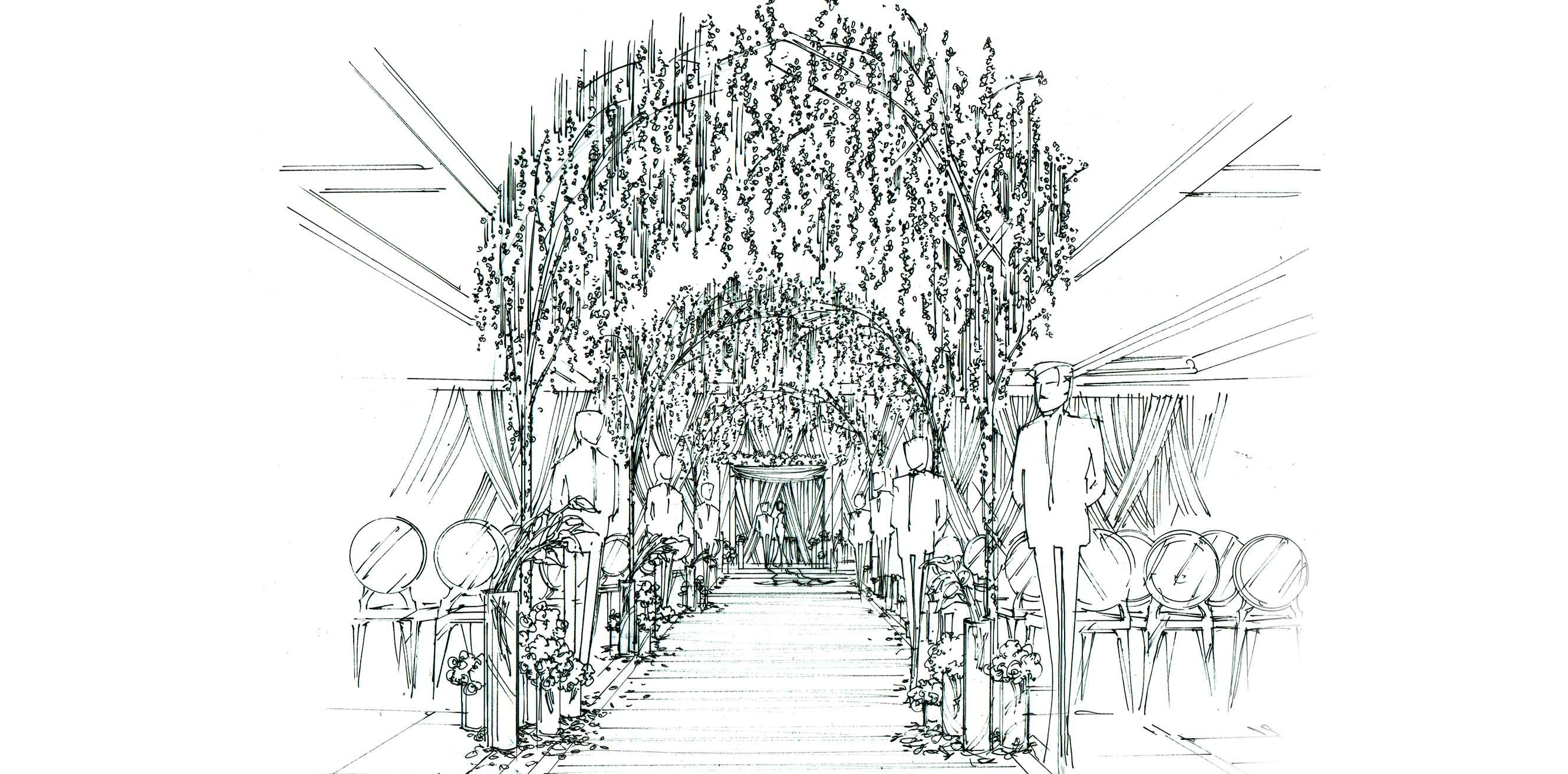 Artist's rendering of a wedding aisle