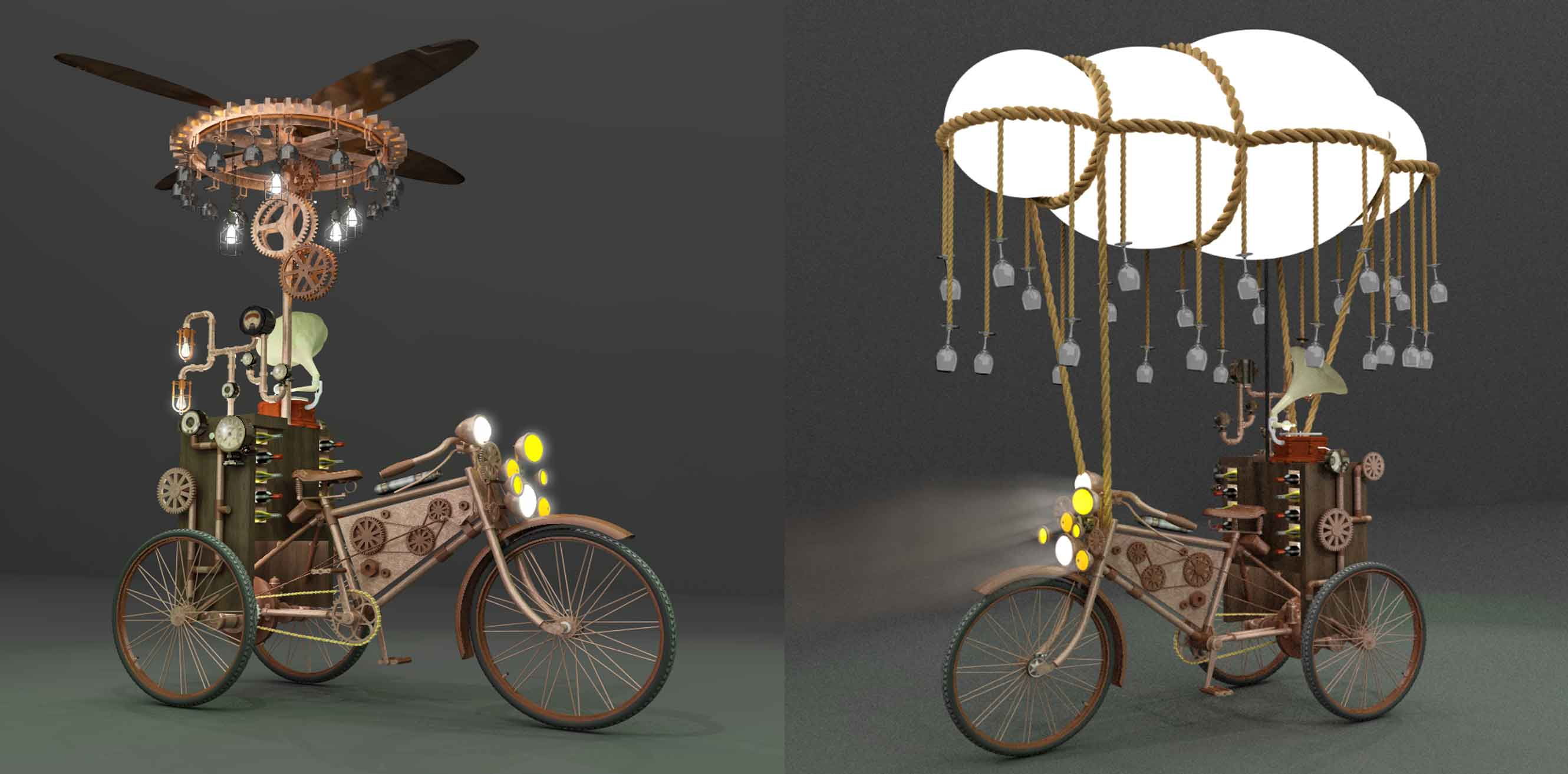 3D renderings of steampunk themed bicycles