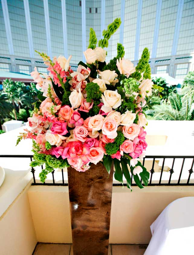 Large floral arrangement in a vase