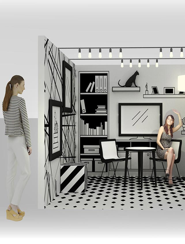 Technical drawing of a room with two people