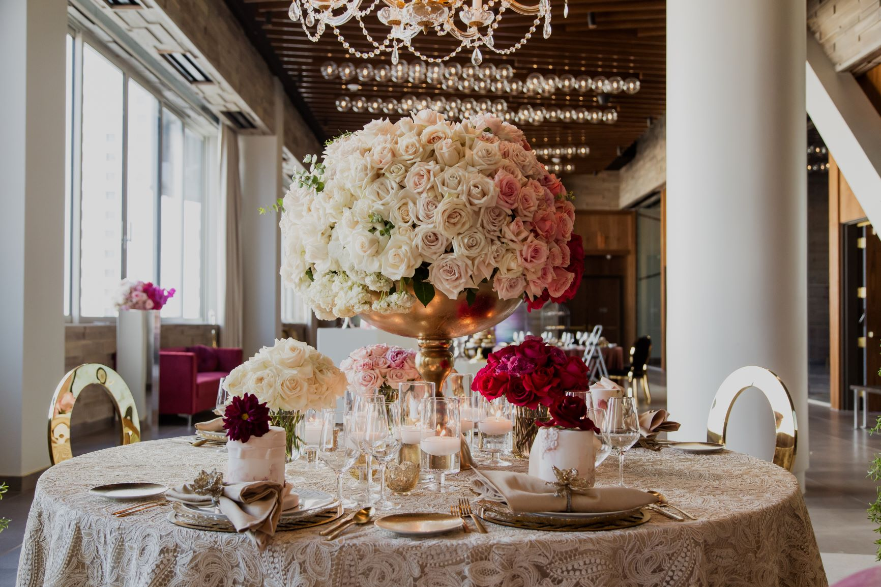 Large centerpiece with white and pink roses