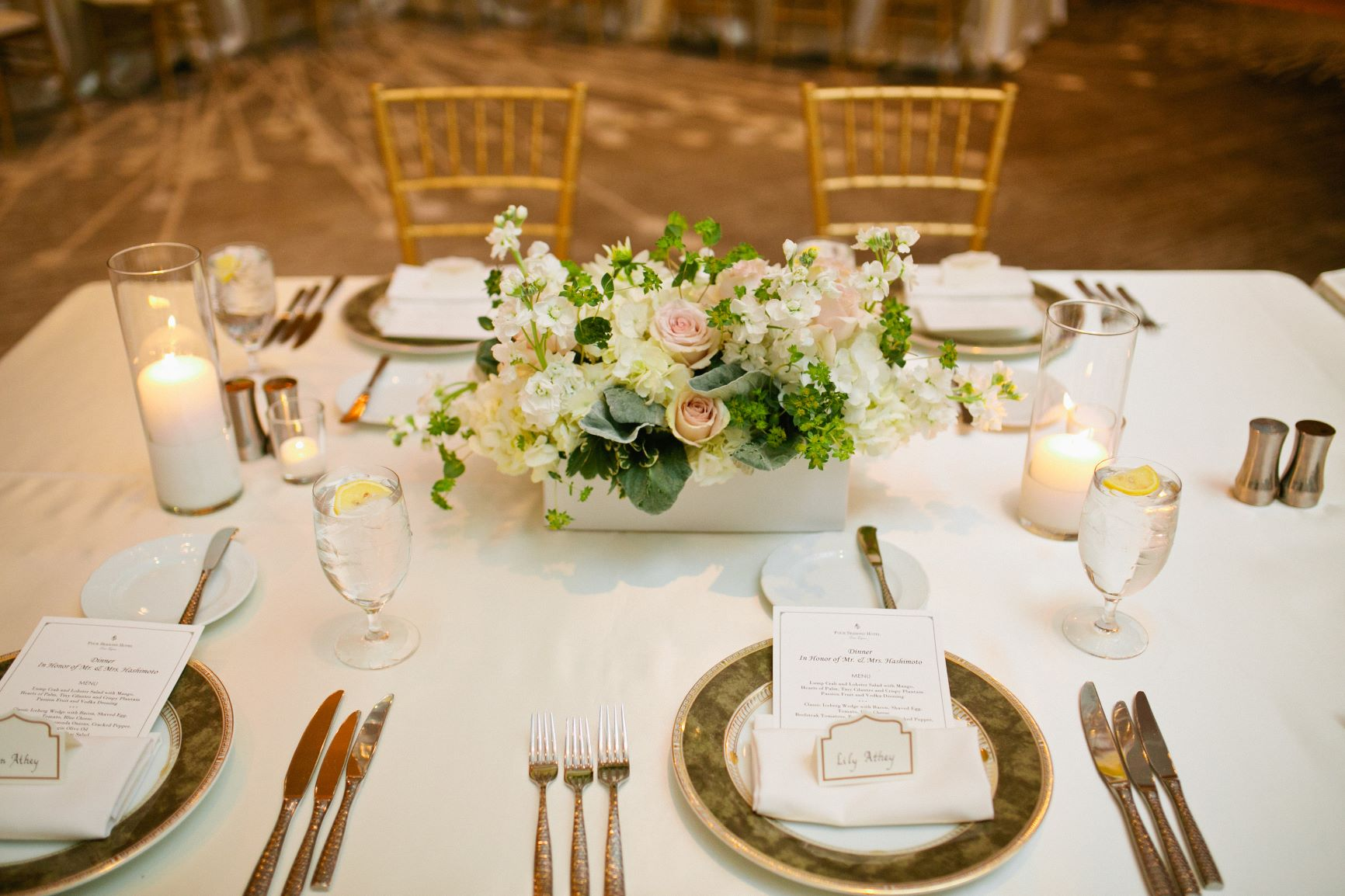 Wedding centerpiece with white flowers